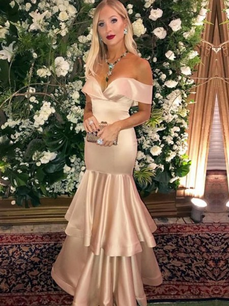 Trumpet/Mermaid Satin Off-the-Shoulder Sleeveless Layers Floor-Length Dresses