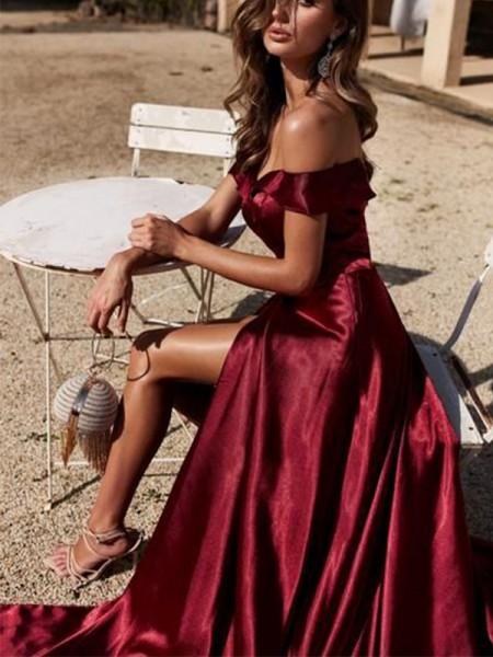 A-Line/Princess Off-the-Shoulder Stretch Satijn Ruffles Court Train Sleeveless Dresses