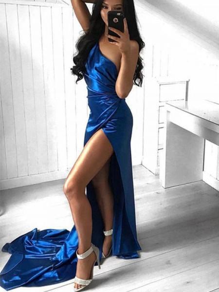 Strak Met Ruches One-Shoulder Hofsleep Elastic Woven Satijn Mouwless Dresses
