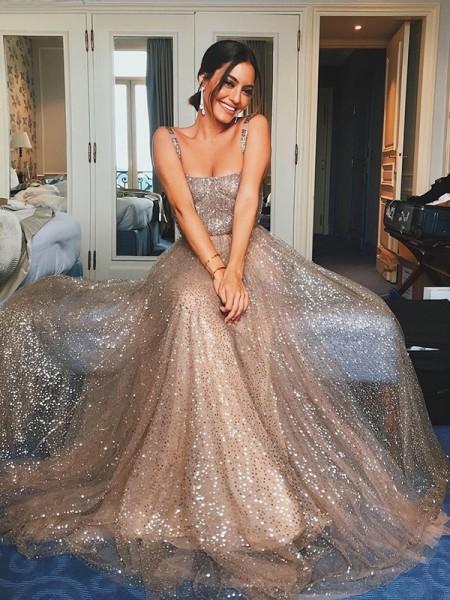 A-lijn/Prinses Tule Pailletten Bandjes Mouwless Strijksleep Dresses