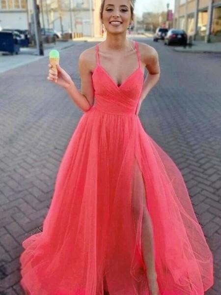 A-lijn/Prinses Mouwless Tule V-Hals Met Ruches Strijksleep Dresses