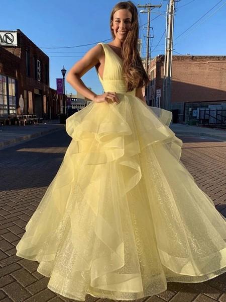 Baljurk Floor-Length V-Hals Ruches Mouwless Organza Dresses
