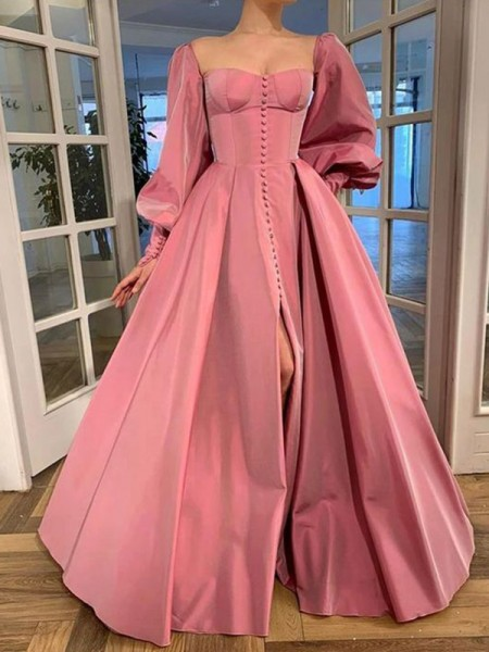A-lijn/Prinses Long Mouws Vierkante Hals Ruches Satijn Floor-Length Dresses