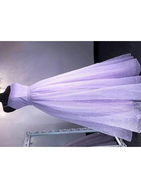 A-lijn/Prinses Tule Spaghetti Bandjes Ruches Mouwless Floor-Length Dresses