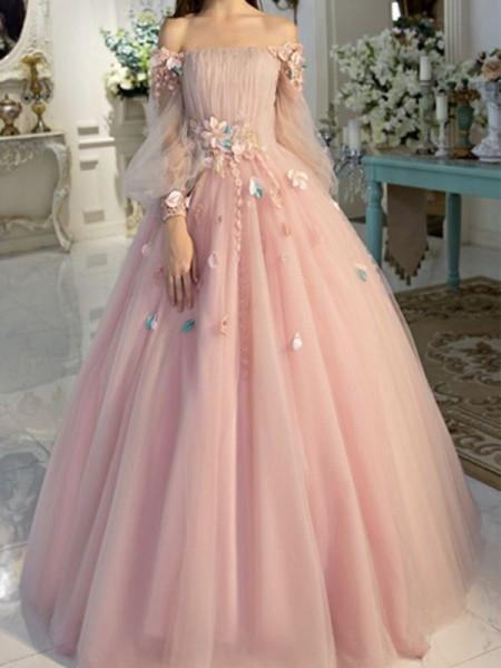 Baljurk Schoudervrij Tule Long Mouws Hand-Made Flower Floor-Length Dresses