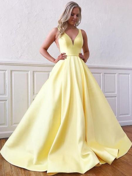A-lijn/Prinses Satijn Mouwless Ruches V-Hals Strijksleep Dresses