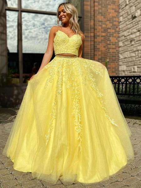 A-lijn/Prinses Tule Appliqué Mouwless V-Hals Floor-Length Tweedelige Dresses