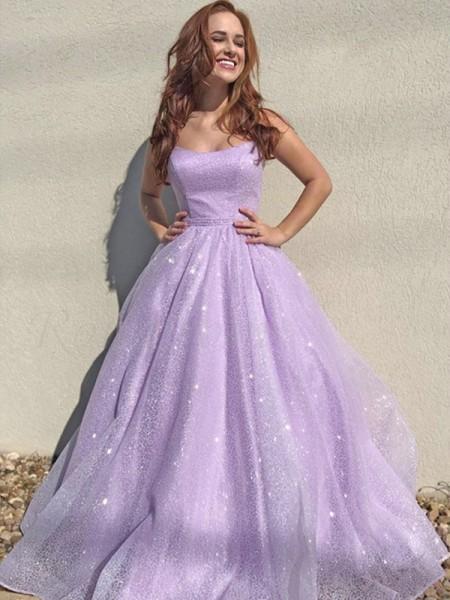 A-lijn/Prinses Vierkante Hals Tule Mouwless Ruches Floor-Length Dresses