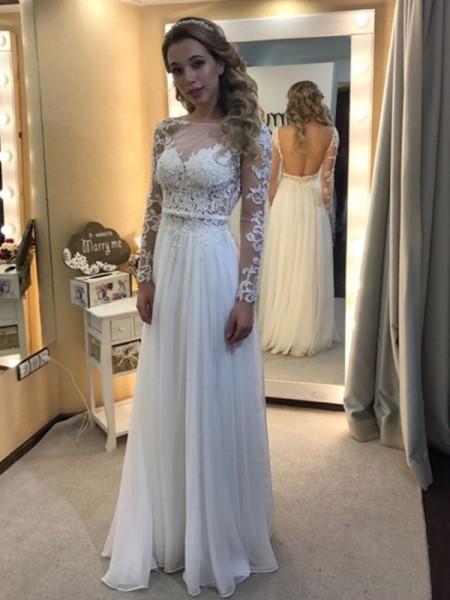 A-lijn/Prinses Boothals Tot de Grond Lange Mouwen Kant Chiffon Bruidsjurken