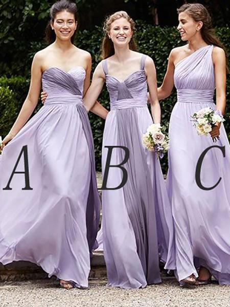 A-lijn/Prinses Mouwloos Chiffon Tot de Grond Bruidsmeisjes Jurken