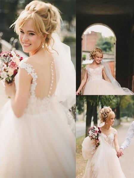 A-lijn/Prinses Decolleté Hofsleep Tule Mouwloos Bruidsjurken