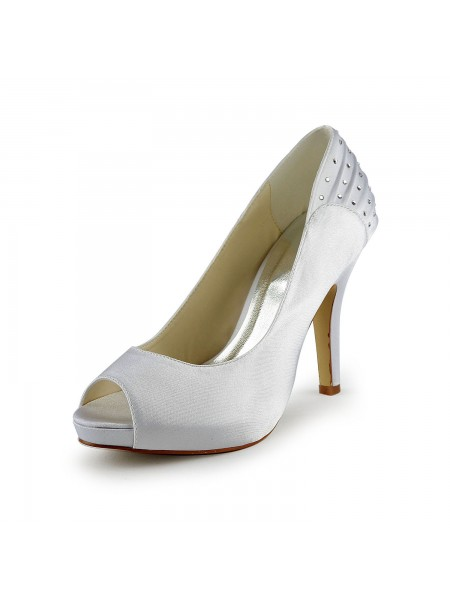 Women's Satijn Stiletto Heel Peep Toe With Bergkristal White Wedding Shoes
