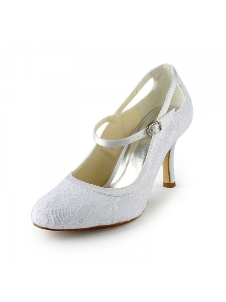 Women's Pretty Satijn Stiletto Heel Pumps With Buckle White Wedding Shoes