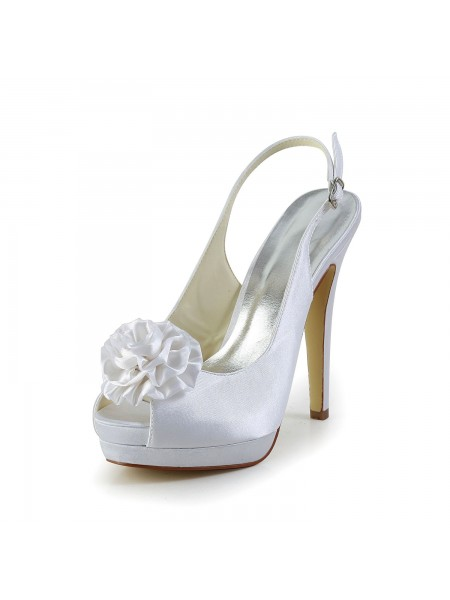 Women's Satijn Stiletto Heel Sandals Peep Toe With Flower White Wedding Shoes