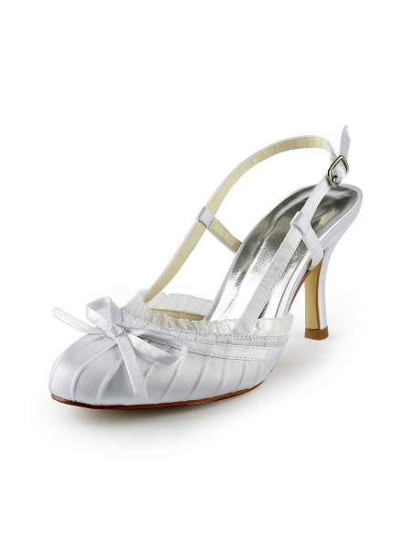 Women's Pretty Satijn Stiletto Heel Sandals Closed Toe With Buckle White Wedding Shoes