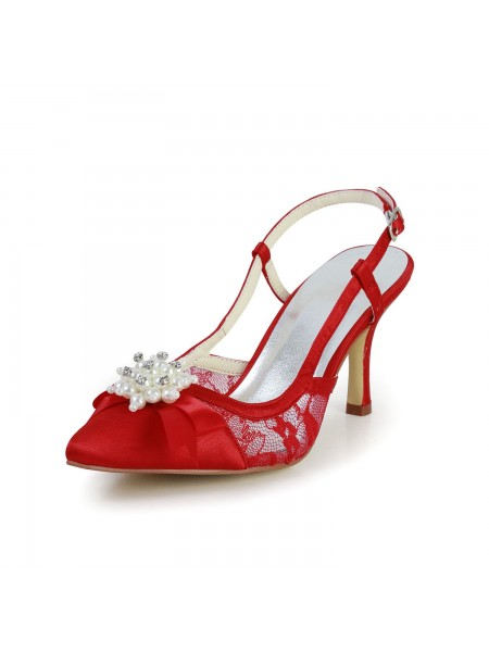 Women's Pretty Satijn Stiletto Heel Sandals Closed Toe With Pearl Red Wedding Shoes