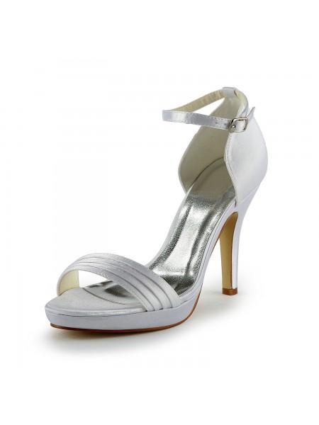 Women's Pretty Satijn Stiletto Heel Sandals With Buckle White Wedding Shoes