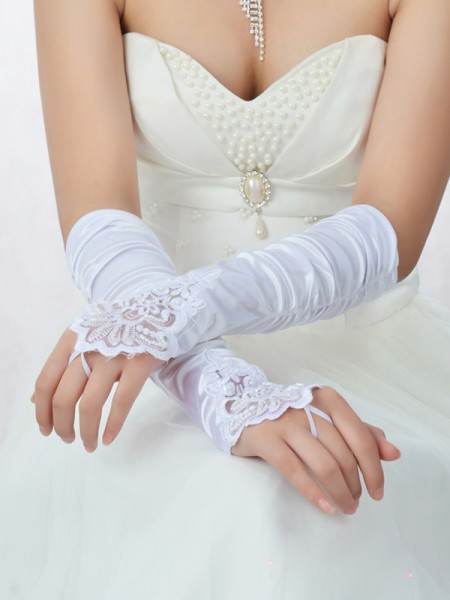 Romantic Kant Satijn Kralenwerk Wedding Gloves