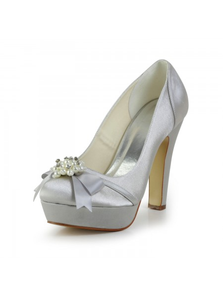 Women's Satijn Chunky Heel Closed Toe Platform Silver Wedding Shoes With Strik