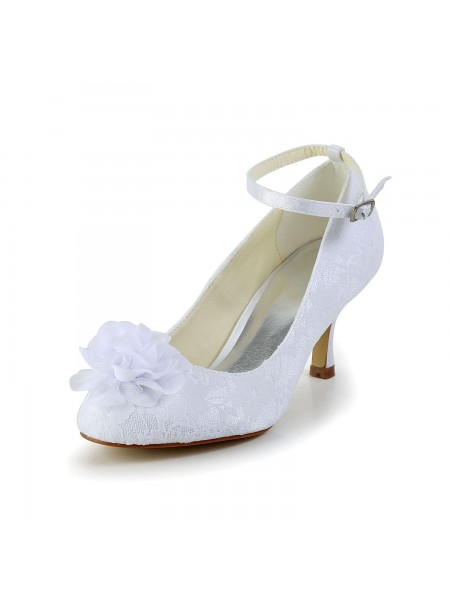 Women's Satijn Closed Toe White Wedding Shoes With Flower Buckle