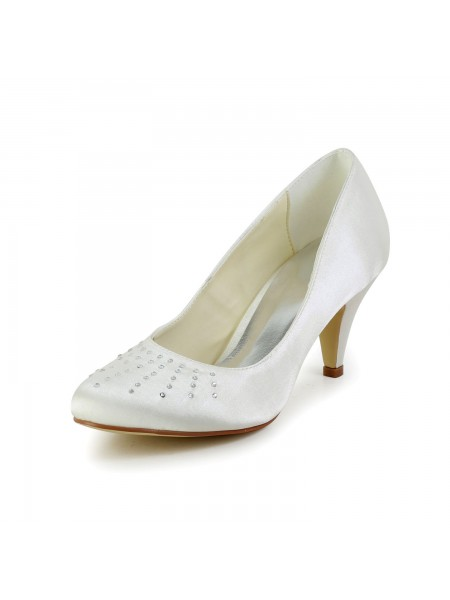 Women's Satijn Closed Toe Cone Heel Ivory Wedding Shoes With Bergkristal