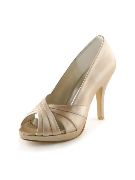 Women's Satijn Stiletto Heel Peep Toe Platform Sandals Champagne Wedding Shoes