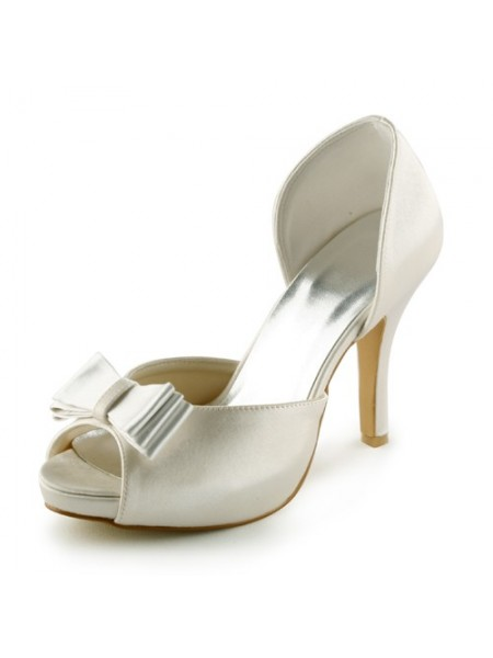Women's Satijn Stiletto Heel Peep Toe Platform Sandals Ivory Wedding Shoes With Strik