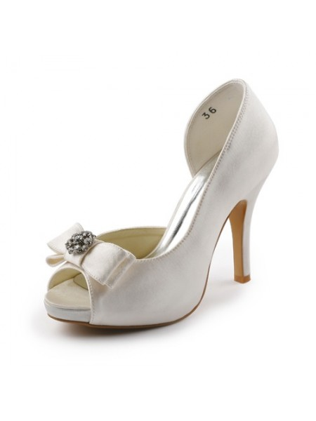 Women's Satijn Stiletto Heel Peep Toe Platform Ivory Wedding Shoes With Strik