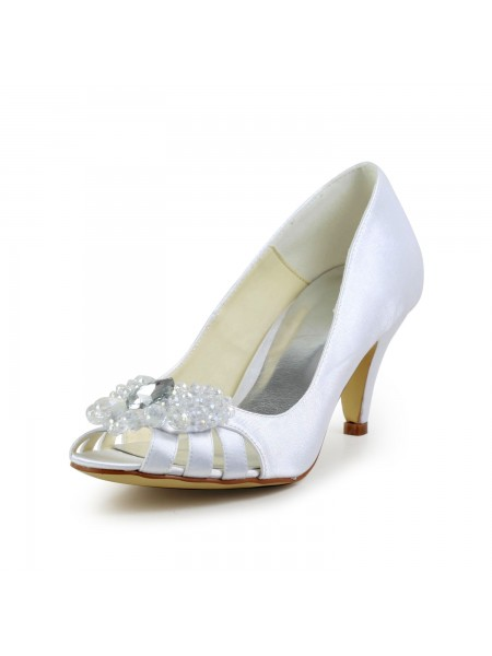Women's Satijn Cone Heel Peep Toe Sandals White Wedding Shoes With Hollow-out