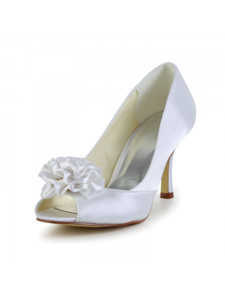 Women's Satijn Stiletto Heel Peep Toe White Wedding Shoes With Flower