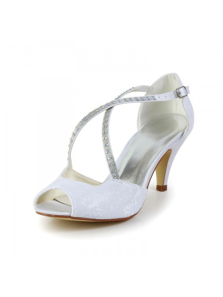 Women's Satijn Cone Heel Peep Toe Sandals White Wedding Shoes With Bergkristal Buckle