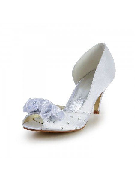 Women's Satijn Cone Heel Peep Toe White Wedding Shoes With Flower Bergkristal