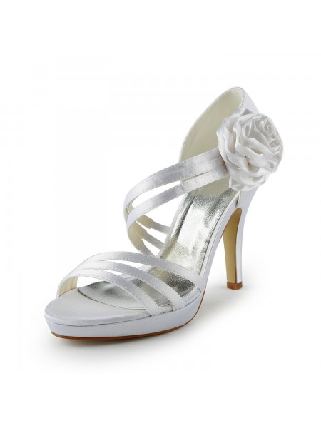 Women's Satijn Stiletto Heel Platform Sandals White Wedding Shoes With Flower