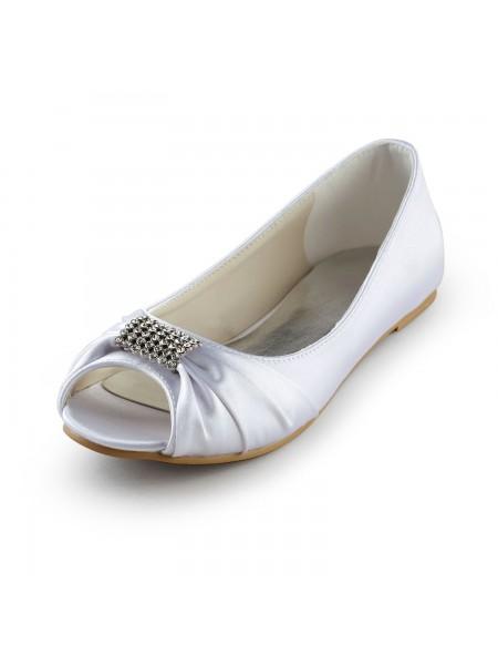 Women's Satijn Flat Heel Peep Toe Sandals White Wedding Shoes With Bergkristal