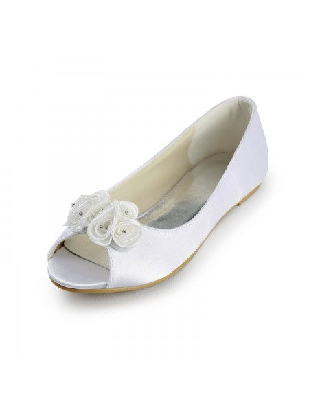Women's Satijn Flat Heel Peep Toe Sandals White Wedding Shoes With Satijn Flower