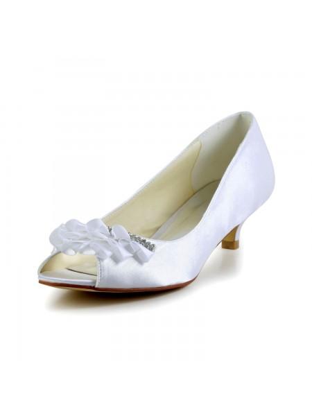 Women's Satijn Kitten Heel Peep Toe Sandals Wedding Shoes Bergkristal