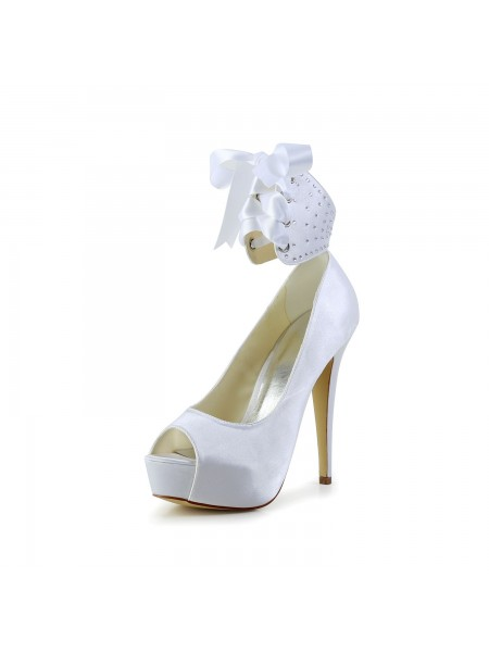 Women's Satijn Peep Toe Stiletto Heel With Strik White Wedding Shoes