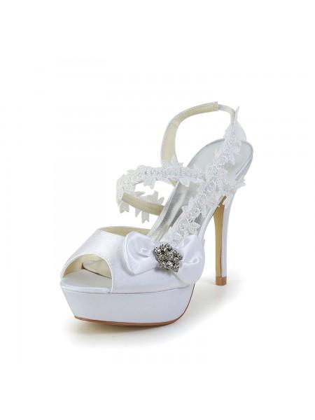 Women's Satijn Peep Toe Stiletto Heel White Shoes With Wedding Strik