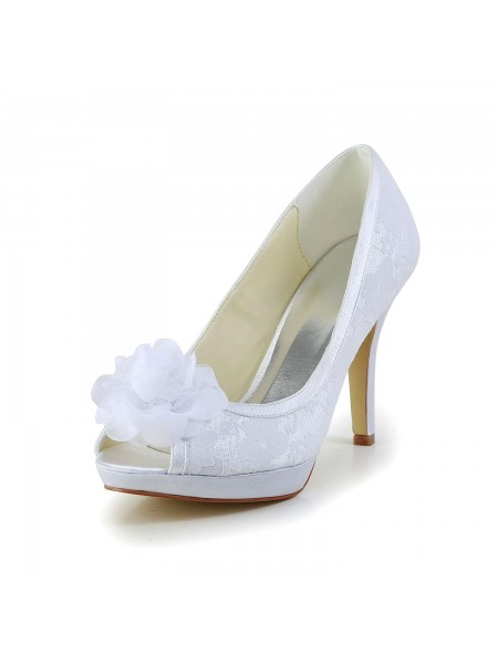 Women's Satijn Peep Toe Stiletto Heel White Wedding Shoes With Flower