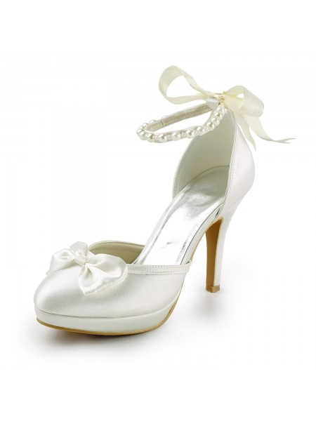 Women's Satijn Stiletto Heel Closed Toe Platform Pumps White Wedding Shoes With Strik