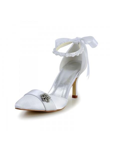 Women's Satijn Stiletto Heel Closed Toe Dance Shoes Pearl