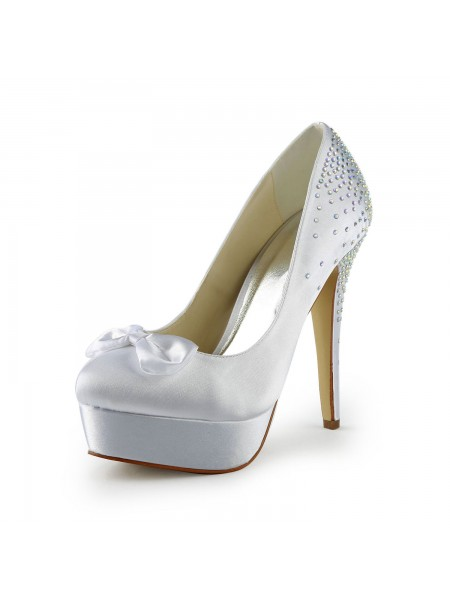 Women's Satijn Stiletto Heel Closed Toe Platform White Wedding Shoes With Strik