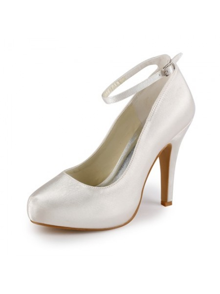 Women's Satijn Stiletto Heel Closed Toe Platform Ivory Wedding Shoes With Buckle