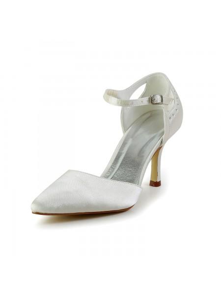 Women's Satijn Stiletto Heel Closed Toe Pumps White Wedding Shoes