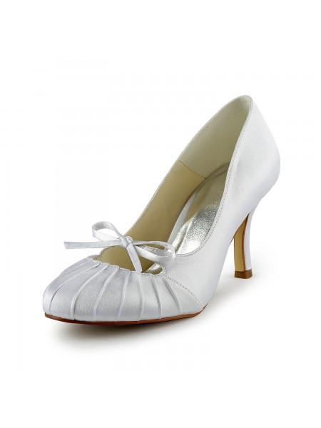Women's Satijn Stiletto Heel Closed Toe Pumps White Wedding Shoes With Strik Met Ruches