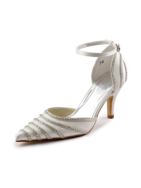 Women's Satijn Stiletto Heel Closed Toe Pumps Dance Shoes With Buckle Bergkristal