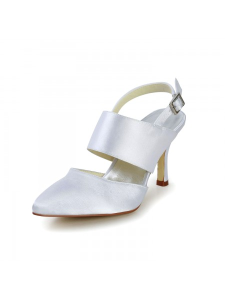 Women's Satijn Stiletto Heel Closed Toe With Buckle White Wedding Shoes