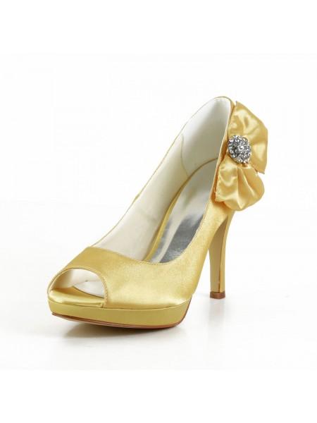 Women's Satijn Stiletto Heel Peep Toe Platform Gold Wedding Shoes With Strik