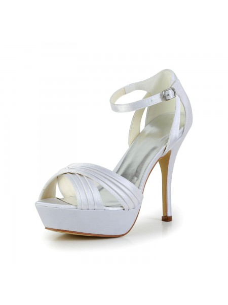 Women's Satijn Stiletto Heel Peep Toe Platform Sandals White Wedding Shoes With Buckle