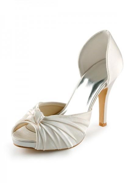 Women's Satijn Stiletto Heel Peep Toe Platform Pumps White Wedding Shoes With Strik